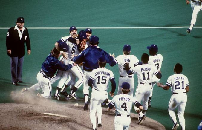 The 1985 Royals celebrate the franchise's sole World Series Championship. For now.