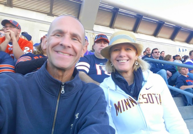 High in the nosebleed sections at Soldier Field. Go Vikings!